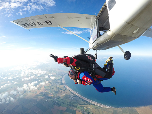 Tandem skydive with coastal views